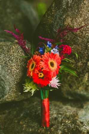 Red Bouquet with Gerber Daisies