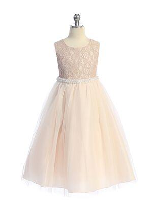 Kid's Dream Long Lace Illusion Dress w/ Thick Pearl Trim Flower Girl Dress