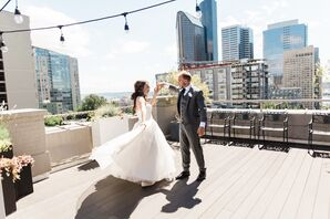 Bride and Groom Share Private Moment on Rooftop