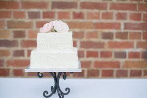 White Two-Tier Wedding Cake