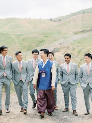 Classic Groomsmen with Gray Suits and Groom with Traditional Korean Outfit