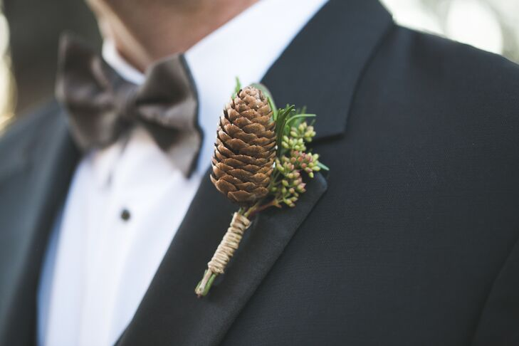 Winter Pinecone Boutonniere for Texas Country Groom