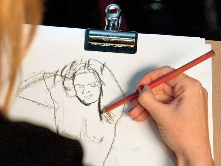 Nude male model sketching for a fun bachelorette idea