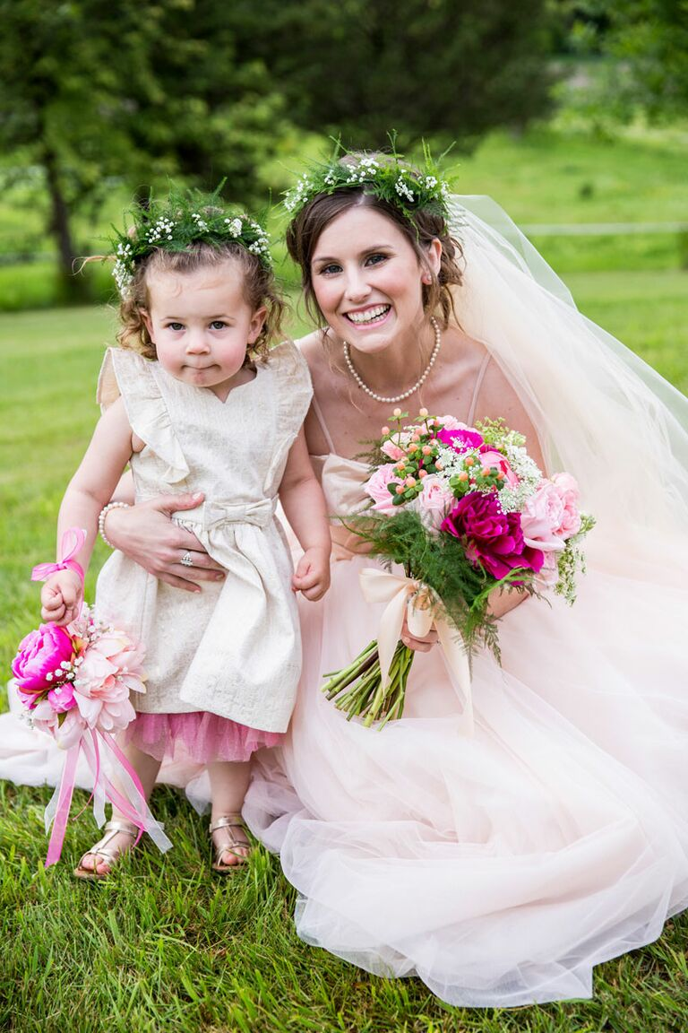 Matching bridal and flower girl flower crowns