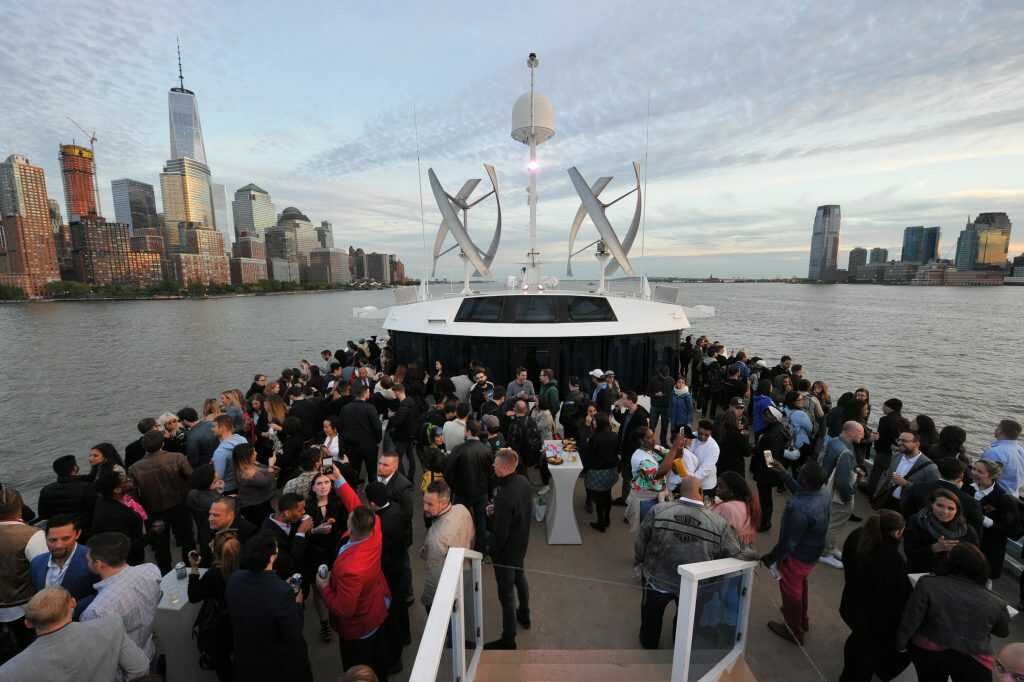 Party on the deck of the Hornblower Infinity