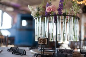 Test Tube Floral Centerpiece with DIY Table Number