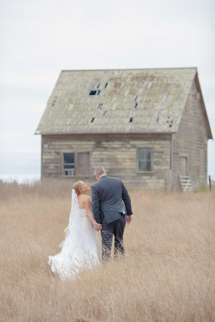 Natalie and Jefferson's rustic seaside wedding incorporated gorgeous vintage elements, like retro signage, a restored redwood barn and mismatched chai
