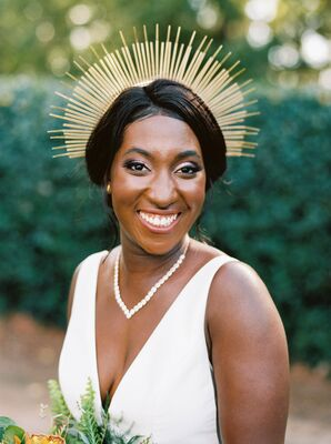 Bride with Gold Halo at Ballantyne Country Club Wedding in Charlotte, North Carolina