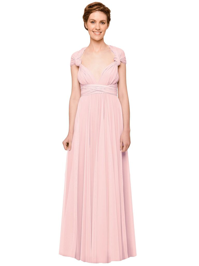 Blush pink bridesmaid dress with adjustable sleeves