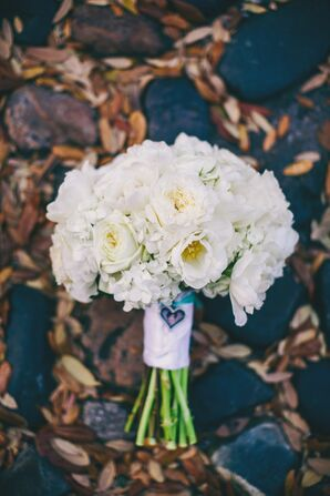 White Floral Bridal Bouquet With Greenery