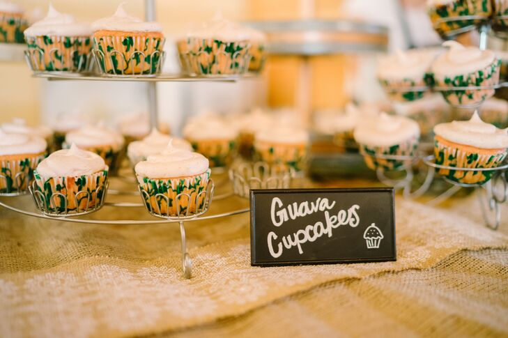 """""""The desserts we served at our wedding were fun island-themed desserts. We had guri-guri, a Hawaiian ice cream, mini pineapple upside-down cakes, banana bread with a coconut butter, guava cupcakes and haupia, a coconut dessert,"""" Kourtney says."""