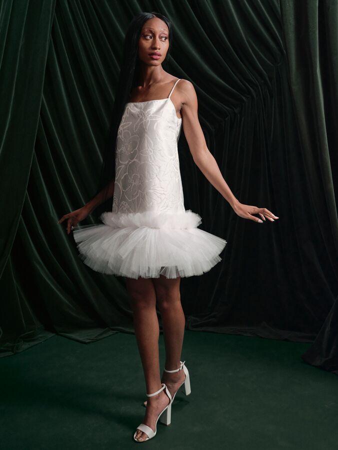 Wiederhoeft boxy mini tutu dress with cherub jacquard