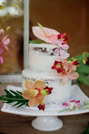 Tropical Anthurium-Accented Cake at Backyard Minimony in Southern California