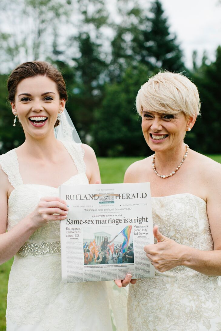 Sandy and Katrina's wedding took place just one day after the Supreme Court ruled same-sex marriage a constitutional right. This was the day's newspaper.