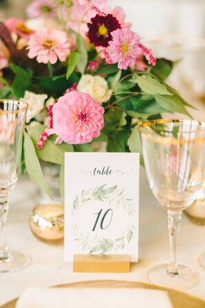 Watercolor Wreath Table Numbers