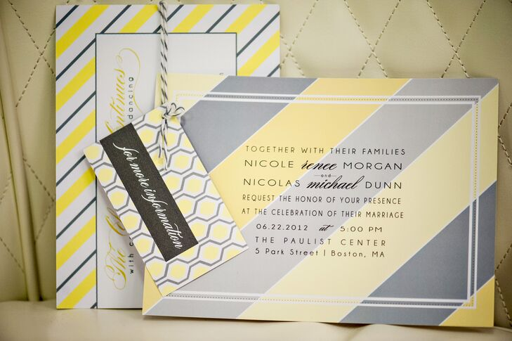 Yellow And Gray Striped Wedding Invitation Suite