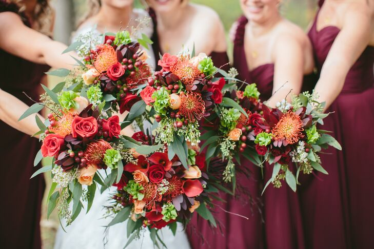 Gail and her bridesmaids carried natural bouquets incorporating all the rich fall colors.