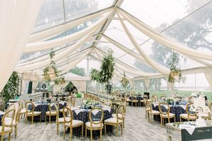 Sophisticated Neutral and Navy Blue Tented Reception