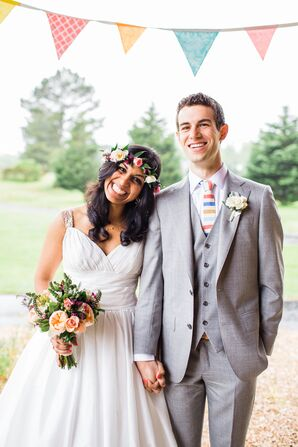 Pink, Green and White Bohemian Flower Crown Wedding Accessory