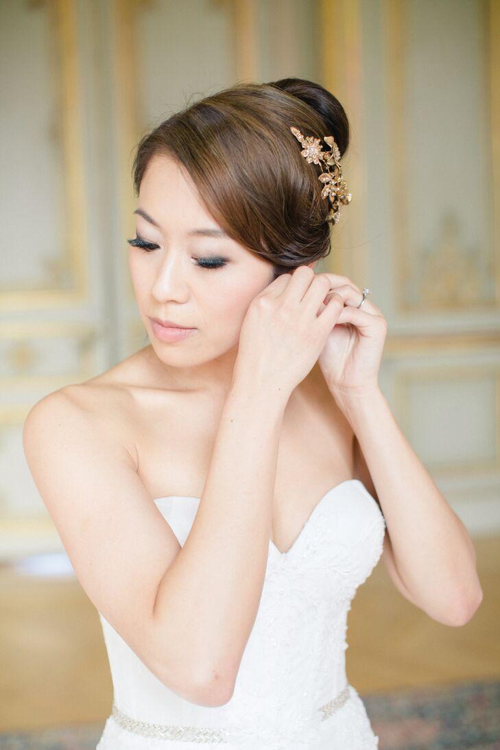Elegant Chignon with Gold Floral Comb