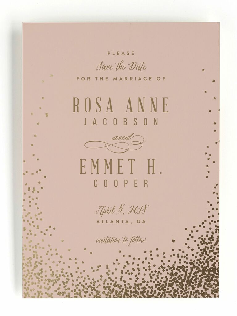 rose and gold save the date
