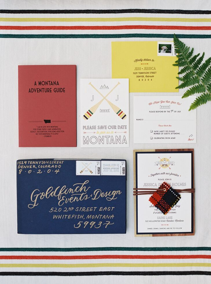 The couple's graphic Montana-themed wedding invitations set the tone for the country-inspired wedding and alfresco reception.