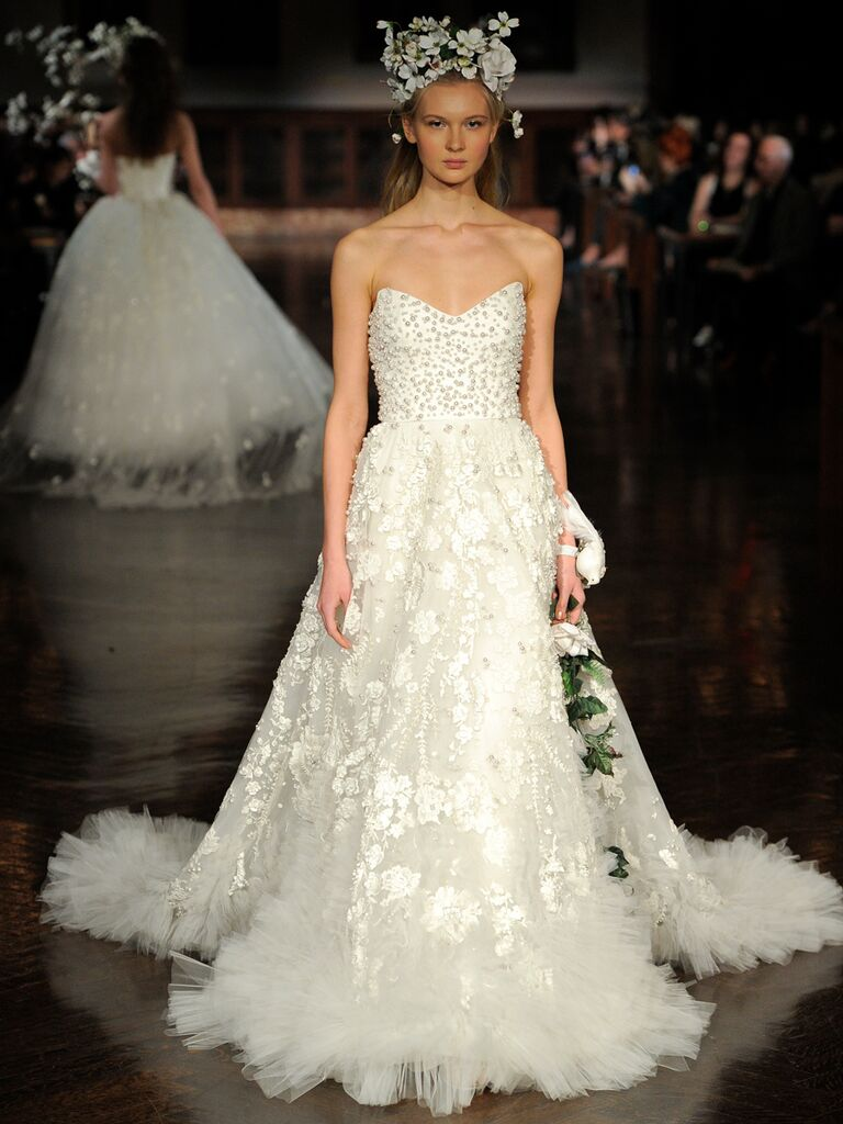 Reem Acra Spring 2019 strapless gown with fringed tulle and beaded bodice