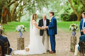 Classic Outdoor Wedding Ceremony with Tree Stumps, Chinoiserie Vases and Flower Arrangements