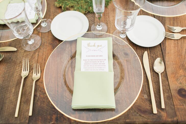 Pale Green Linens and Gilded Cutlery