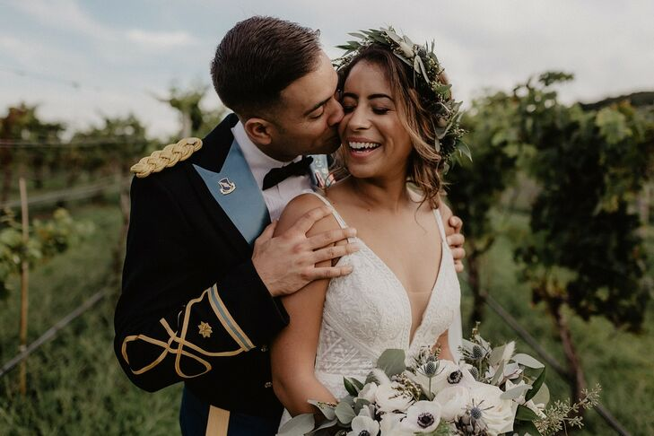 "Maddie and Ernesto describe their vineyard wedding as ""moody boho-chic."" They took advantage of their Labor Day weekend date to incorporate fall-inspi"