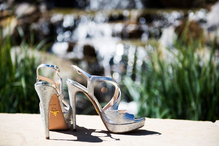Cara wore silver Prada heels for a pop of sparkle on her wedding day.