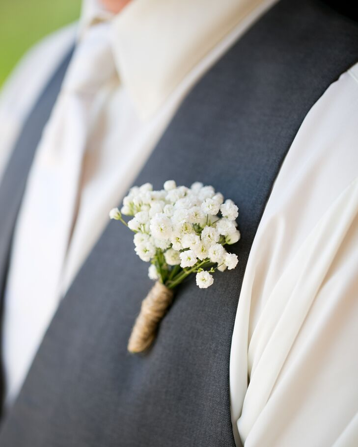 Boutonniere with Brown Twine Wrap