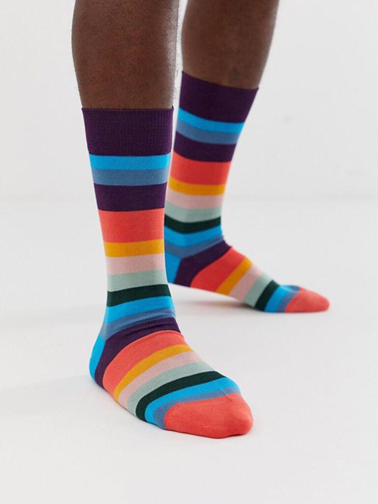 Striped groom groomsmen socks