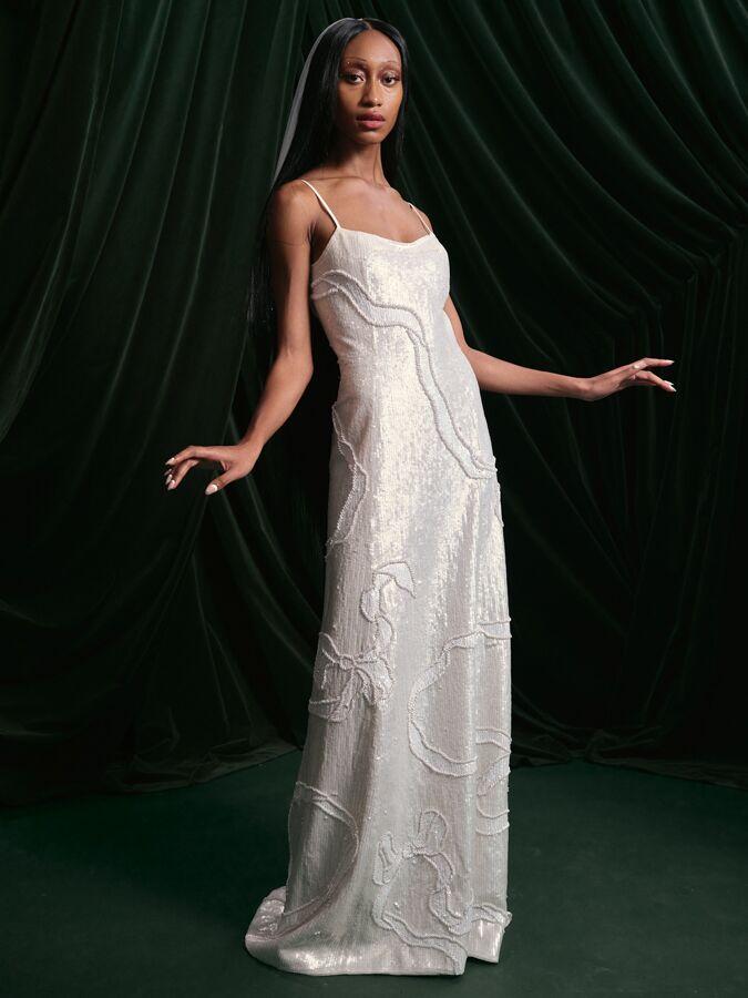 Wiederhoeft sequin and pearl sheath dress
