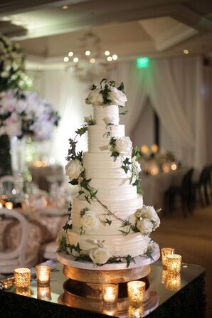 Tall Tiered Round Wedding Cake with White Roses and Vine