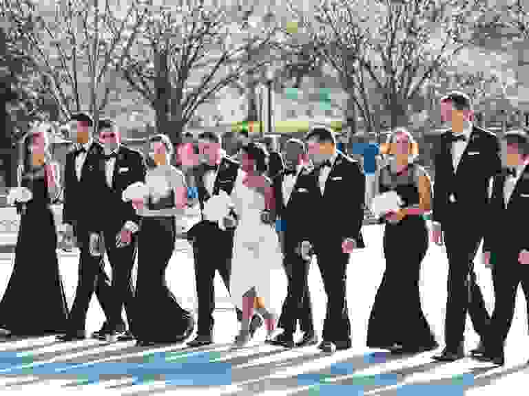 Formal bridesmaid and groomsmen attire at spring wedding
