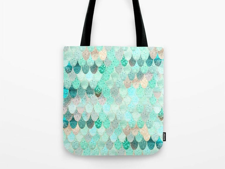Mermaid themed bachelorette party tote bags