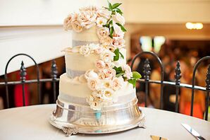 Traditional Wedding Cake With Rose Cascade