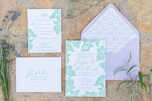 Green Floral Invitations