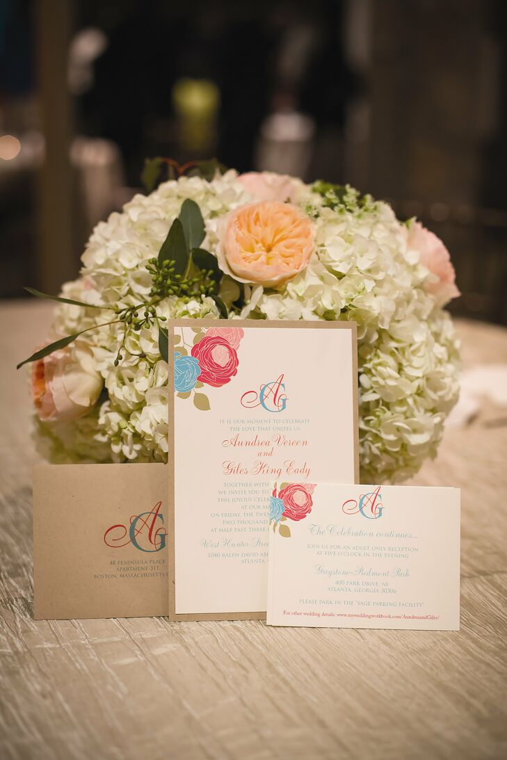 Pink and Teal Invitation Suite