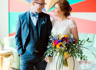 There was no shortage of eye-catching accents at Kellene Hilliard (29 and an art teacher) and William Damian's (26 and a marketing and sales professio