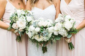 Bohemian Bouquets of Greenery, Succulent, White Roses and Baby's Breath