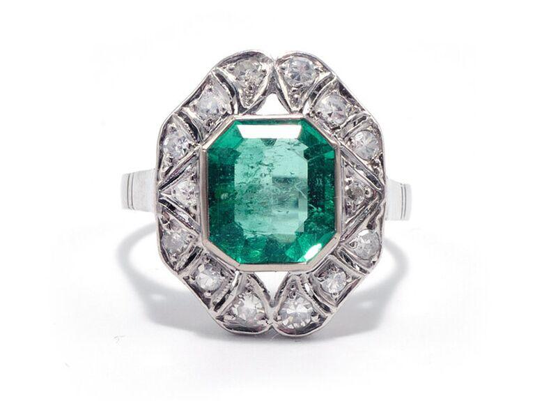 Emerald art deco engagement ring