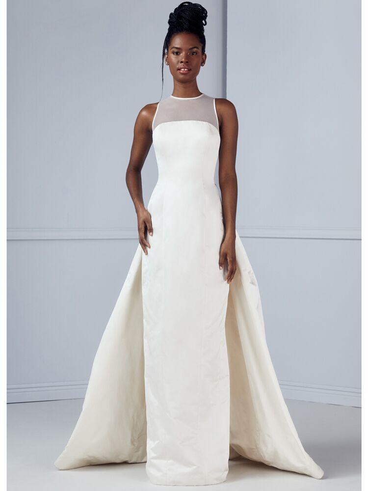 Amsale satin column wedding dress with illusion back