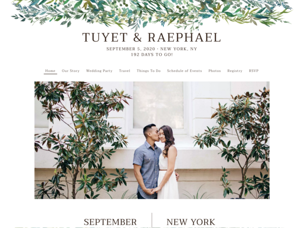 Leafy Hoops Wedding Website Template, The Knot