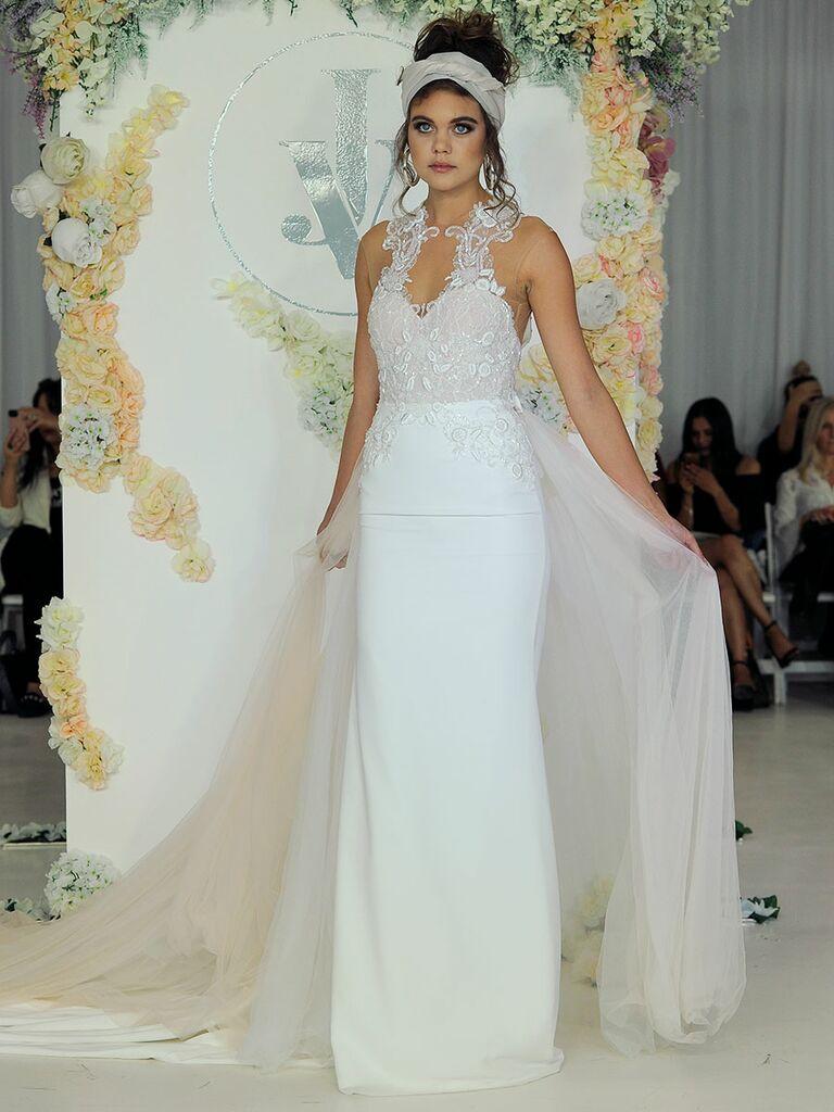 Julie Vino Fall 2018 wedding sheath dress with detachable skirt