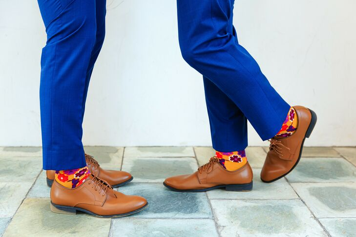 Grooms with Brown Shoes and Whimsical Patterned Socks