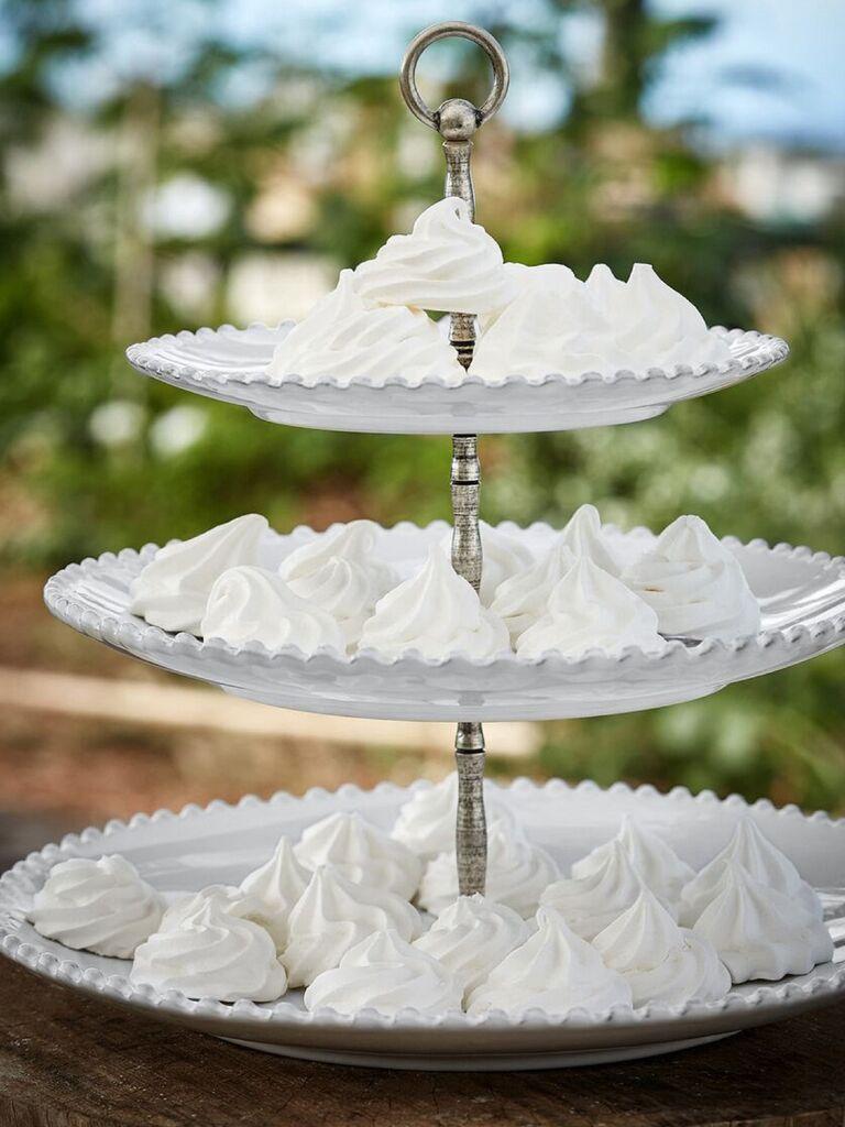Three tier white pearl wedding cupcake stand
