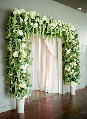 Lush Greenery, Hydrangea and Rose Archway