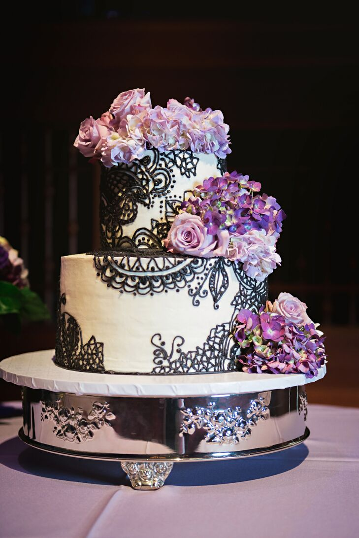 Black And White Wedding Cake With Purple Flowers